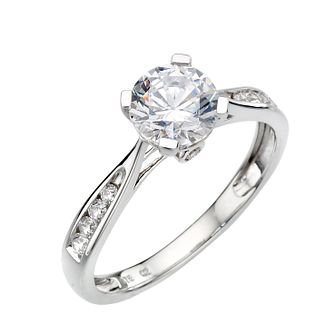 9ct white gold cubic zirconia solitaire ring - Product number 6914667