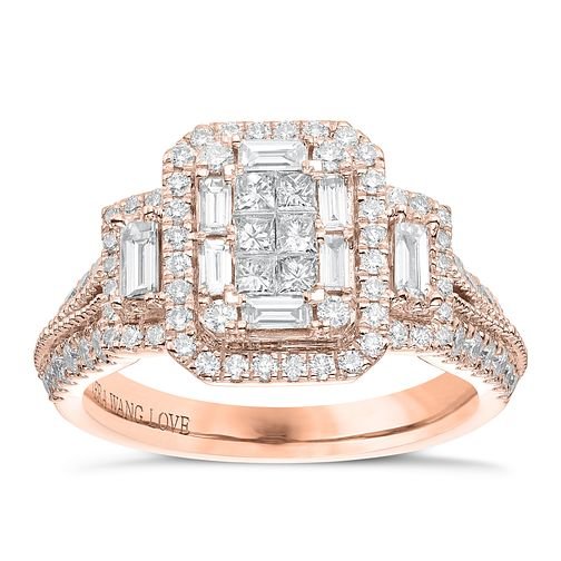 Vera Wang 18ct Rose Gold 0.95ct Diamond Cluster Ring - Product number 6915086