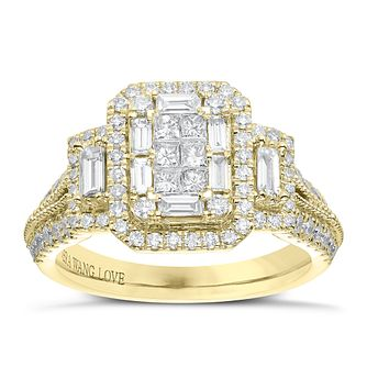 Vera Wang 18ct Yellow Gold 0.95ct Diamond Cluster Ring - Product number 6915205