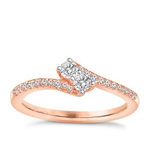 Ever Us 14ct Rose Gold 0.33ct Diamond Two Stone Twist Ring - Product number 6915353