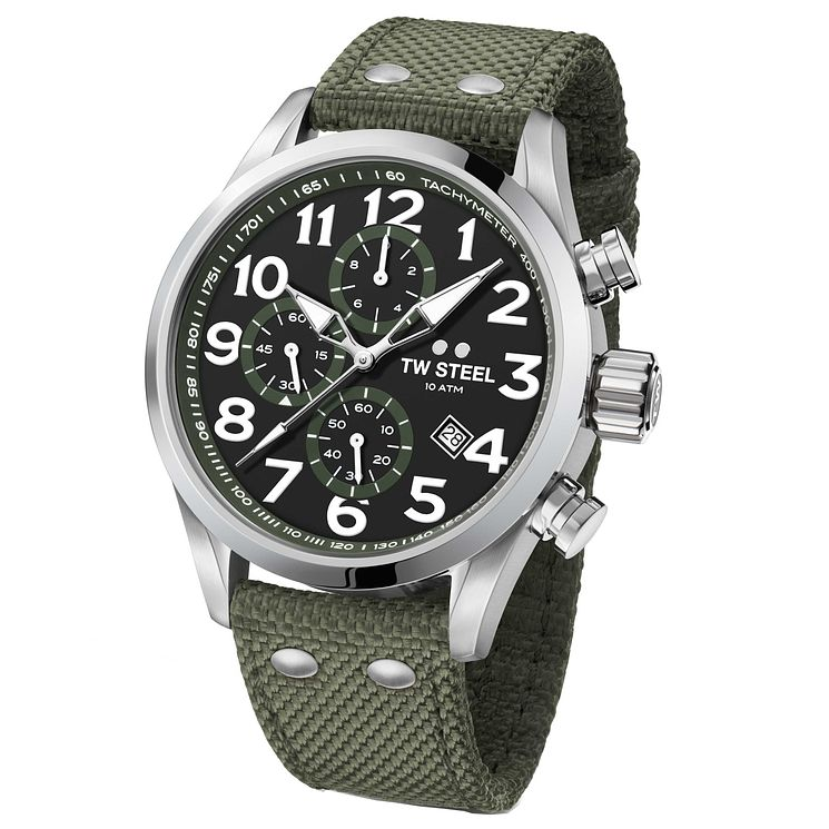 TW Steel Volante Men's Stainless Steel Green Strap Watch - Product number 6915647
