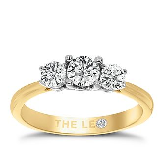 Leo Diamond 18ct Yellow Gold 3 Stone 0.75ct II1 Diamond Ring - Product number 6916236