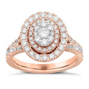 Neil Lane 14ct Rose Gold 1.18ct Oval Double Halo Ring - Product number 6932630