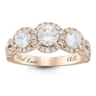 Neil Lane 14ct Rose Gold 1.5ct Diamond 3 stone Ring - Product number 6935273