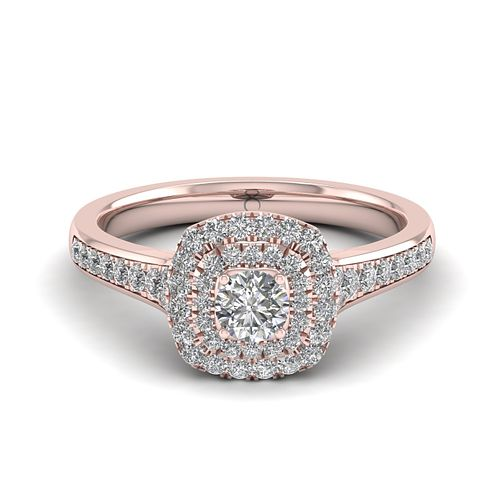 The Diamond Story 18ct Rose Gold 0.50ct Diamond Halo Ring - Product number 6939309