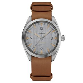 Omega Railmaster Men's Stainless Steel Brown Strap Watch - Product number 6939872