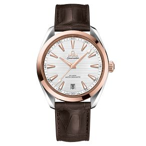 Omega Seamaster Aqua Terra Men's Brown Leather Strap Watch - Product number 6940005