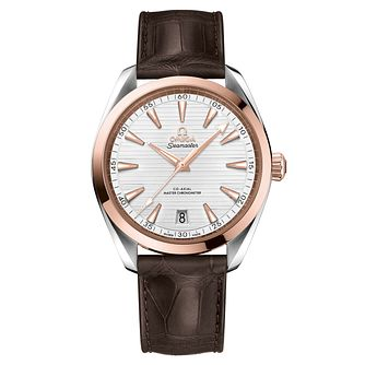Omega Sea Master Aqua Terra Men's Brown Leather Strap Watch - Product number 6940005