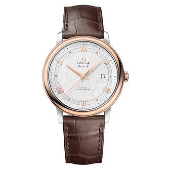 Omega De Ville Men's 18ct Rose Gold Brown Strap Watch - Product number 6940242
