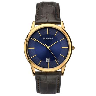 Sekonda Men's Gold Plated Brown Leather Strap Watch - Product number 6944647
