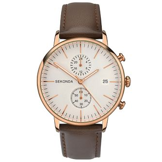 Sekonda Men's Dual Time Brown Leather Strap Watch - Product number 6944671