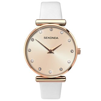 Sekonda Editions Ladies' White Leather Strap Watch - Product number 6944795
