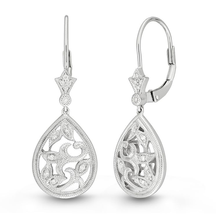 Neil Lane Designs 14ct White Gold Filigree Diamond Earrings - Product number 6945317