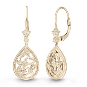 Neil Lane Designs 14ct Yellow Gold Filigree Diamond Earrings - Product number 6945325