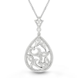 Neil Lane Designs 14ct White Gold Filigree Diamond Pendant - Product number 6945414