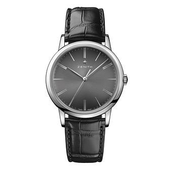 Zenith Elite Men's Stainless Steel Black Strap Watch - Product number 6947603