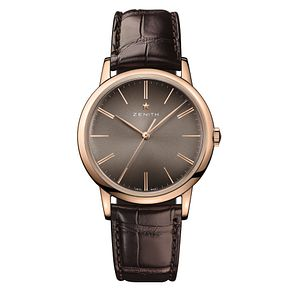 Zenith Elite Men's 18ct Rose Gold Brown Strap Watch - Product number 6947654