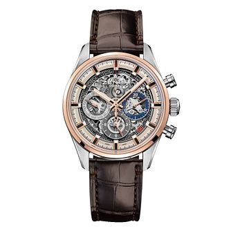 Zenith El Primero Men's Skeleton Brown Strap Watch - Product number 6947743