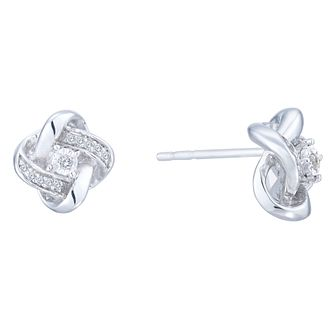 Sterling Silver & Diamond Knot Earrings - Product number 6948391