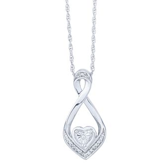 Sterling Silver Twisting Heart Diamond Pendant - Product number 6948413