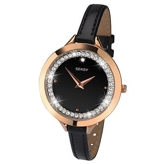 Seksy Ladies' Rose Gold Black Leather Strap Watch - Product number 6954324