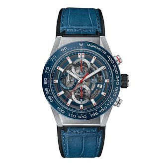 TAG Heuer Carrera Men's Stainless Steel Blue Strap Watch - Product number 6956343