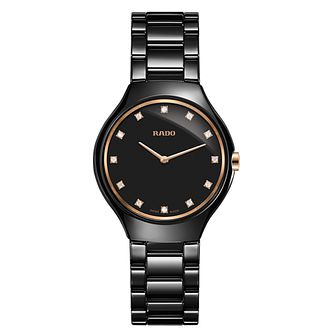 Rado True Thinline Ladies' Black Ceramic Bracelet Watch - Product number 6956610