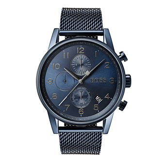 Hugo Boss Navigator Men's Ion Plated Blue Bracelet Watch - Product number 6957447