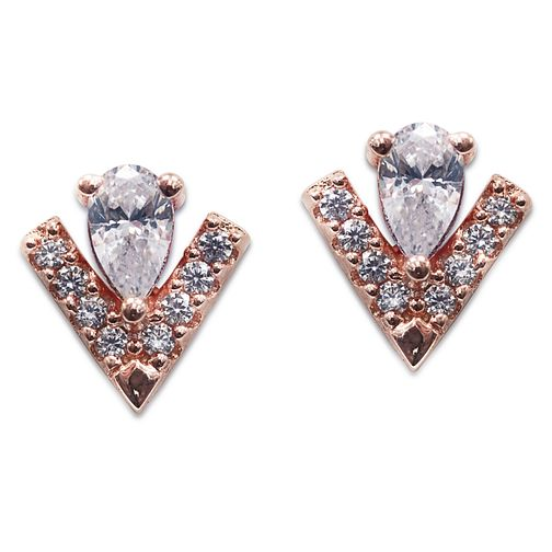 Carat Victoria Rose Gold Plated Silver Stud Earrings - Product number 6957609