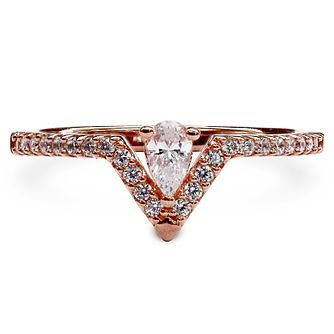 CARAT* LONDON Victoria Rose Gold Plated Ring Size N - Product number 6957811