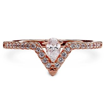 Carat Victoria Rose Gold Plated Silver Ring Size P - Product number 6957838
