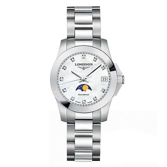Longines Conquest Ladies' Diamond Moonphase Watch - Product number 6959164