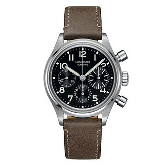 Longines Heritage Men's Black and Steel Chronograph Watch - Product number 6959229