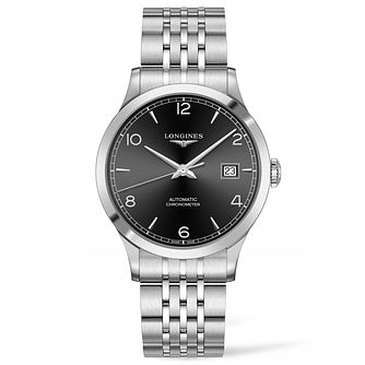 Longines Record Men's Stainless Steel Black Strap Watch - Product number 6959245