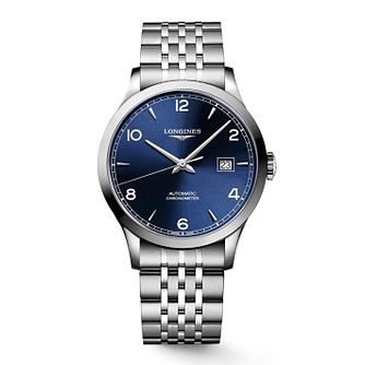 Longines Record Men's Stainless Steel Blue Strap Watch - Product number 6959253