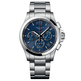 Longines Conquest Men's Blue and Steel Chronograph Watch - Product number 6959318
