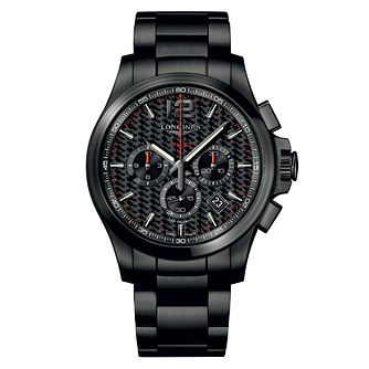 Longines Conquest Men's Black Ion Plated Chronograph Watch - Product number 6959326