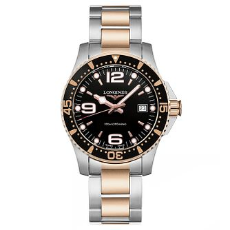 Longines Hydroconquest Men's Rose Gold Plated Black Watch - Product number 6959334