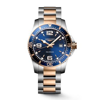 Longines Hydroconquest Men's Rose Gold Plated Blue Watch - Product number 6959342