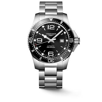 Longines Men's Silver Hydroconquest Black Bracelet Watch - Product number 6959377