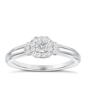 9ct White Gold 1/5ct Diamond Solitaire Ring - Product number 6994431