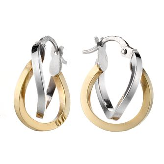 9ct gold two colour double hoop creole earrings - Product number 8001588