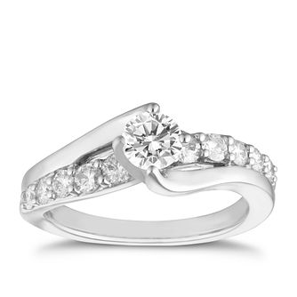 18ct white gold 1 carat diamond solitaire ring - Product number 8007977