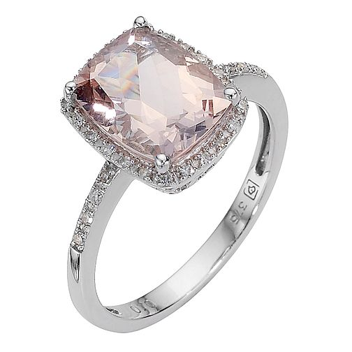 9ct white gold morganite and diamond ring - Product number 8016682