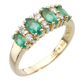 18ct gold marquise cut emerald and diamond ring - Product number 8017212