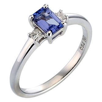 18ct white gold certificated tanzanite and diamond ring - Product number 8022127