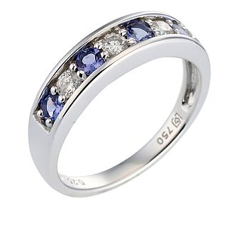 18ct white gold certificated tanzanite & diamond ring - Product number 8022380