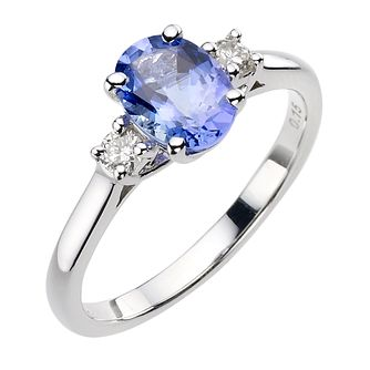 18ct white gold certificated tanzanite and diamond ring - Product number 8022658