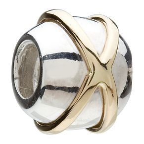 Chamilia - sterling silver and 14k yellow gold bow tie bead - Product number 8025053