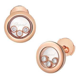 Chopard Happy Diamonds 18ct Rose Gold Diamond Stud Earrings - Product number 8031606
